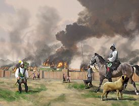 Hernando de Soto and his men burn Mabila, after a surprise attack by Chief Tuskaloosa and his people, 1540 CE, (painting by Herb Roe, 200