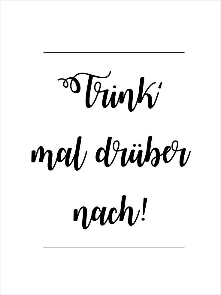 """Bild: Zitat """"Trink' mal drüber nach!"""" und ein einfaches Rezept für leckeren Rhabarer Schnaps als Geschenkidee, gefunden auf www.partystories.de"""