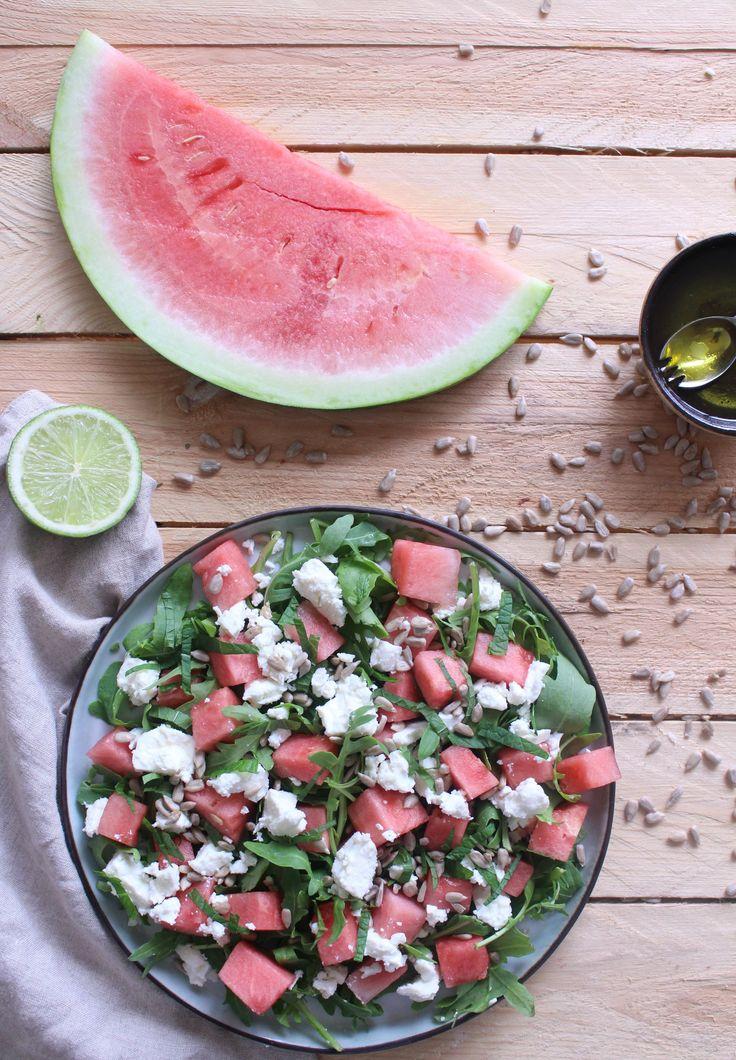 watermeloen salade met munt en fetakaas