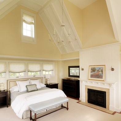 Color for small room --- Mannequin Cream Absolutely obsessed with the high ceilings.