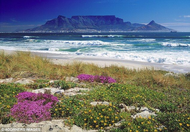 Stunning: Table Mountain looms over Cape Town and the Atlantic beaches  ~ beautiful view across the ocean.