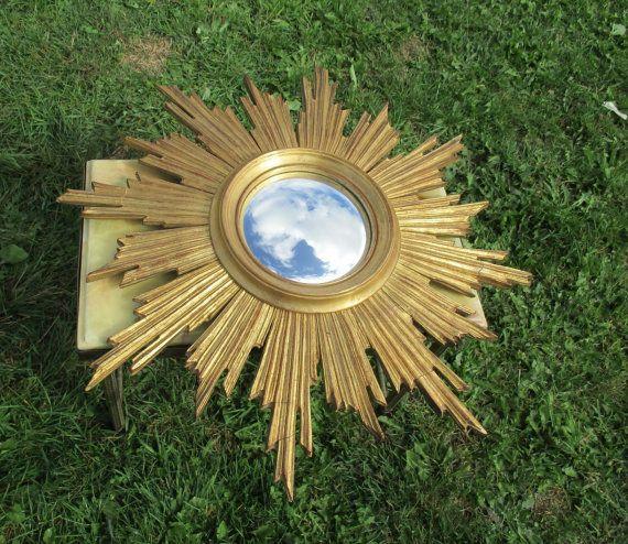 Stunning Sunburst Wall Hanging Convex Mirror Mid by Tweedeleven