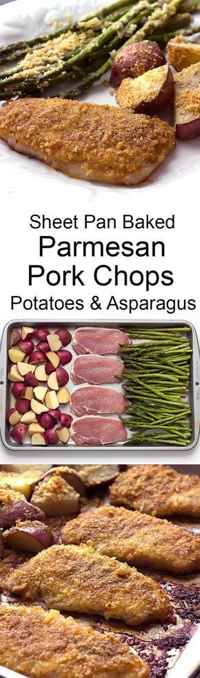 Sheet Pan Baked Parmesan Pork Chops Potatoes & Asparagus - An easy recipe for a quick dinner with fast clean up! The parmesan panko forms a cheesy crispy crust on the pork when baked!