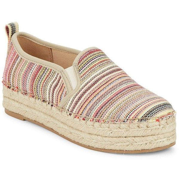Sam Edelman Carrin Striped Espadrille Slip-Ons (295 BRL) ❤ liked on Polyvore featuring shoes, white, stripe shoes, platform slip on shoes, slip on espadrilles, platform shoes and striped shoes