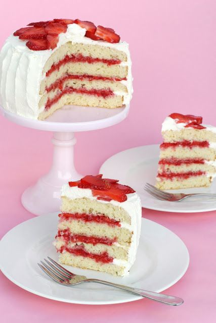 White Butter Cake with Strawberry filling and Homemade whipped topping. ~~~ STRAWBERRY FILLING: ~1 basket/pint strawberries~ 1 Tablespoon sugar~ 2 teaspoons corn starch~ 3 Tablespoons water~~~FRESH WHIPPED CREAM: ~1 1/2 cups heavy cream~ 1/4 cup powdered sugar~ 1/2 teaspoon vanilla~