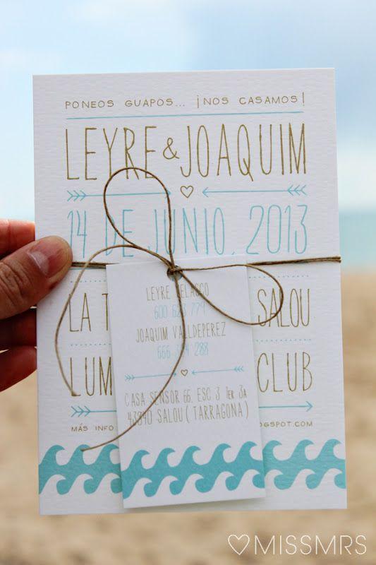 Sencilla y super bonita. Invitación para una boda en la playa diseño de { MissMrs } mucho más que una boda: