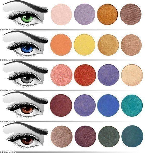 Для карих глаз лучше всего подойдет серо-голубая гамма, а тени с красным оттенком, такие как красно-коричневые могут придать глазам заплаканный вид. Лучше всего отдать предпочтение оливковым, бежевым, синим, лиловым, бордово-коричневым или цвета морской волны.  Темно-карим глазам подходят: серо-фиолетовый, серый, черный, бежево-коричневая и синяя гамма.