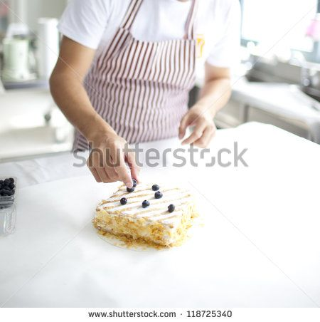 chef preparing delicious chocolate cake  at kitchen - stock photo