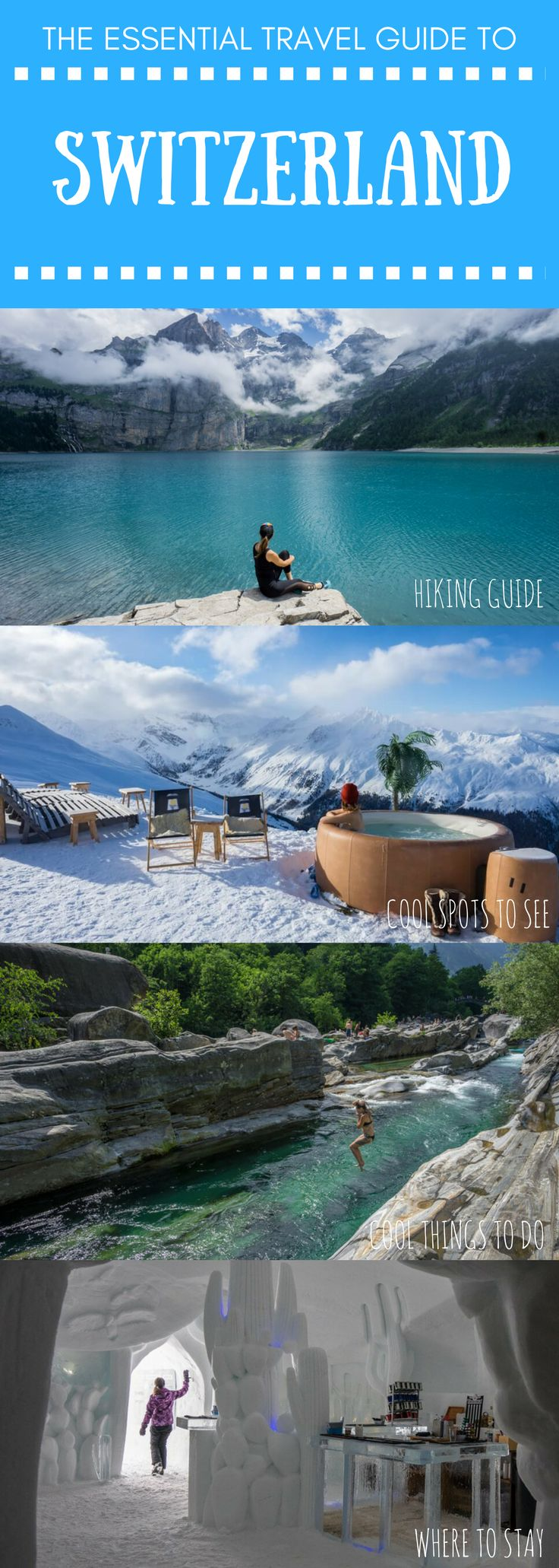 Everything you need to know about traveling in Switzerland, from hiking in Zermatt, to skiing in Davos, to chasing waterfalls at Oeschinen Lake, plus tips on where to stay, how to get around, and what to eat | Be My Travel Muse #switzerlandguide #switzerland