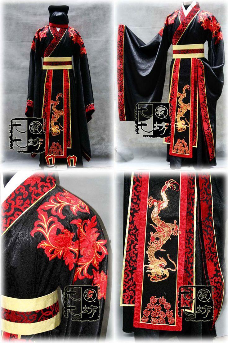 【唐装・漢服ー男】 男性用 漢服華服古装 結婚用 赤×黒