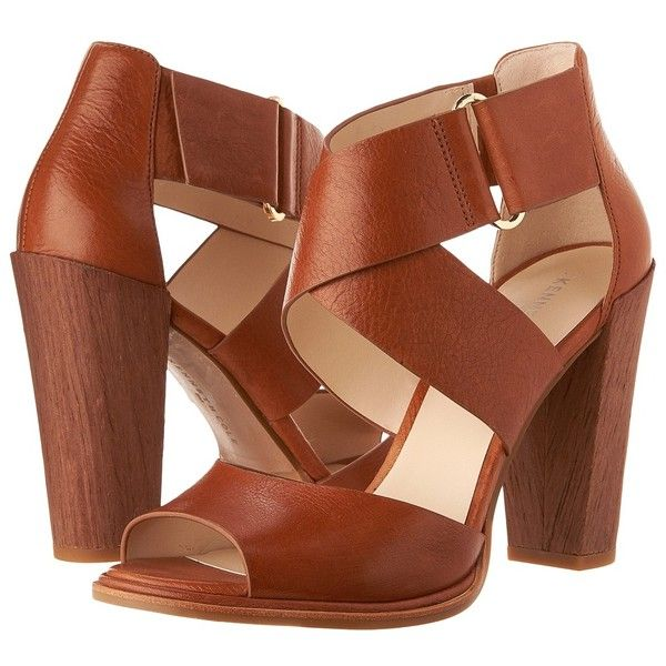 Kenneth Cole New York Sora (Medium Brown) High Heels ($140) ❤ liked on Polyvore featuring shoes, sandals, velcro sandals, ankle strap high heel sandals, open toe high heel sandals, kenneth cole shoes and ankle wrap sandals