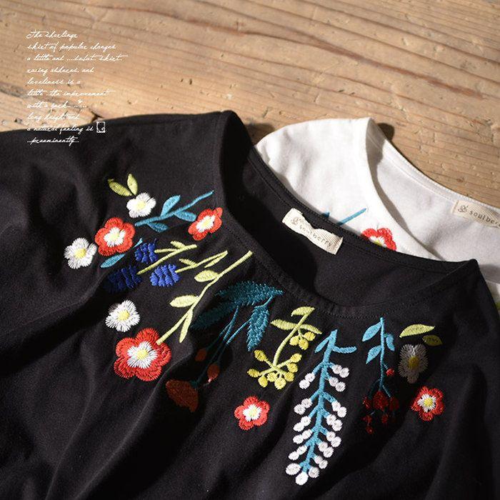 。チュニック M/L/LLサイズ カラフルな刺繍が、コーデの主役。花柄刺繍ドルマンチュニックレディース/Tシャツ/プルオーバー/ドルマン/7分袖/七分袖soulberryオリジナル