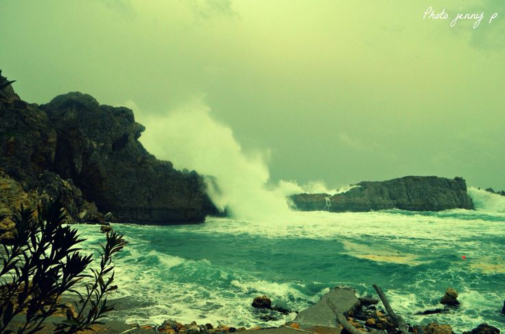 Wild sea ..at St. Paul's bay Lindos Rhodes ..