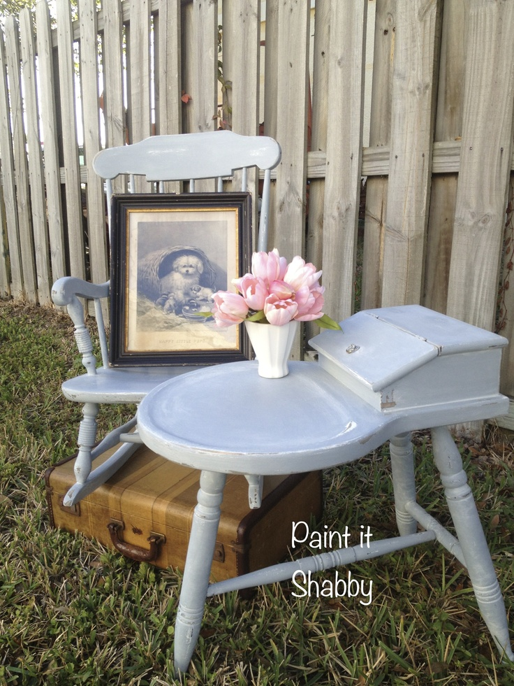 Sweet child rocking chair and table painted with Miss Mustard Seed Milk Paint. Shutter Grey and Ironstone.