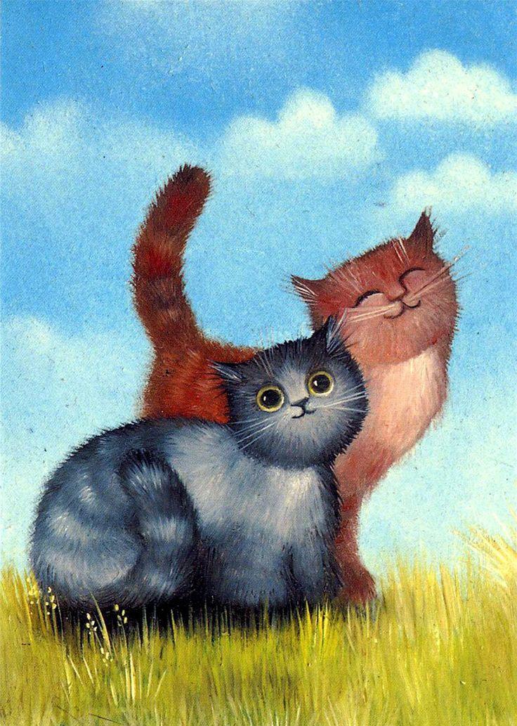 Смешные детские рисунки кошек