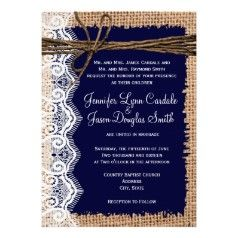 Burlap and Lace Print with Navy Wedding Invitations - Rustic Country Wedding Invitations... Without the twine