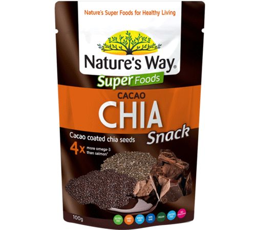Nature's Way Cacao Coated Chia Seeds are made from two of the most known antioxidant-dense SuperFoods found in nature.  The combination of Chia Seeds and Cacao make this snack a natural energy powerhouse.  Instant, delicious, Chia seeds!