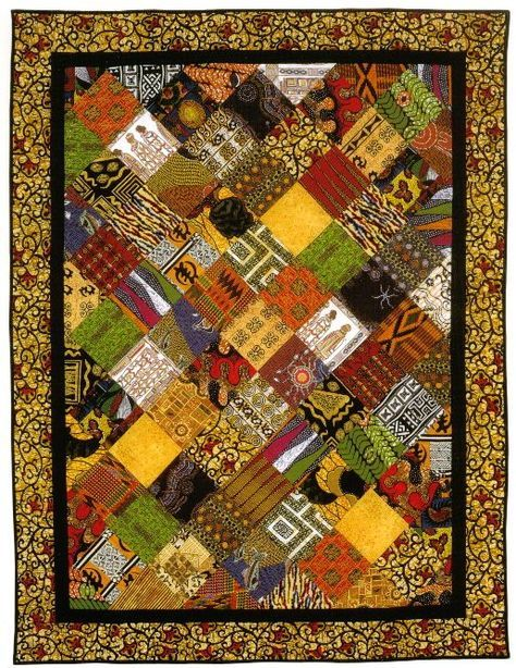 AFRICAN INFLUENCED QUILT.............PC............African fabric quilt inspiration.   quilting   Pinterest
