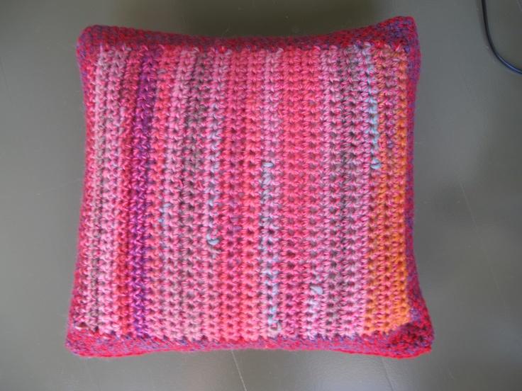 crochet cushion reverse side