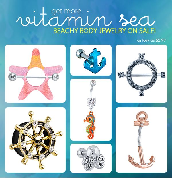 Get more vitamin SEA with our nautical body jewelry sale!  Shop now: http://www.freshtrends.com/cgi-bin/category/nautical-jewelry