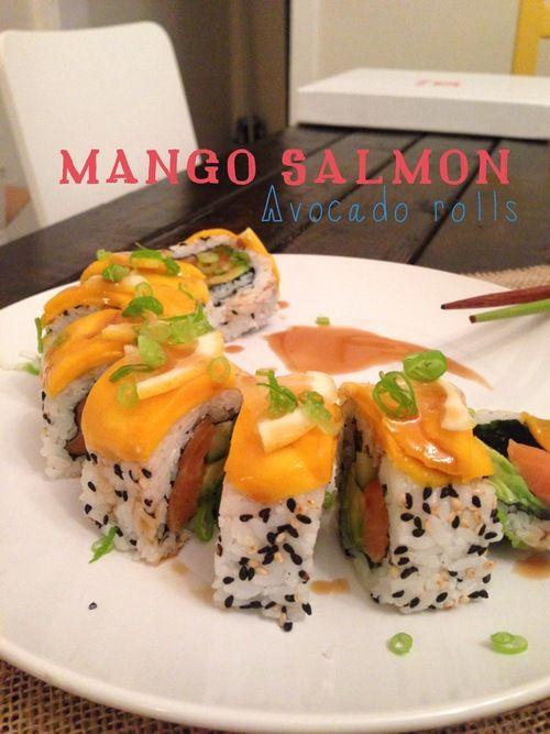 Mango salmon avocado rolls #sushi #mango #salmon