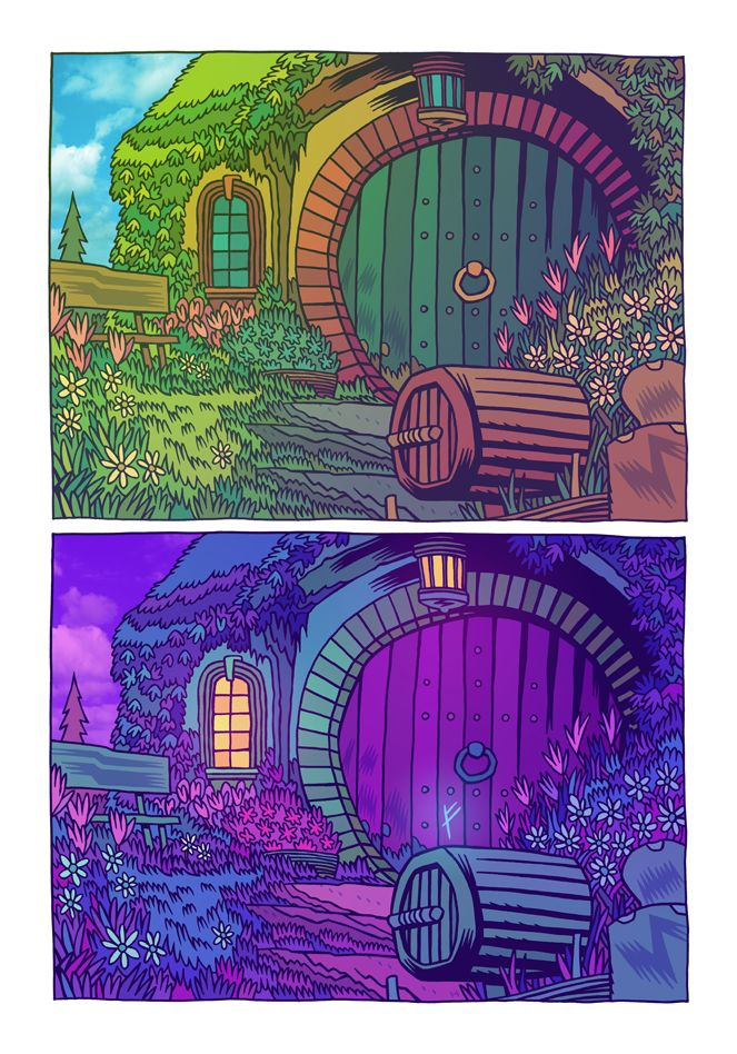 """""""In a hole in the ground there lived a hobbit."""" by Dan Hipp"""