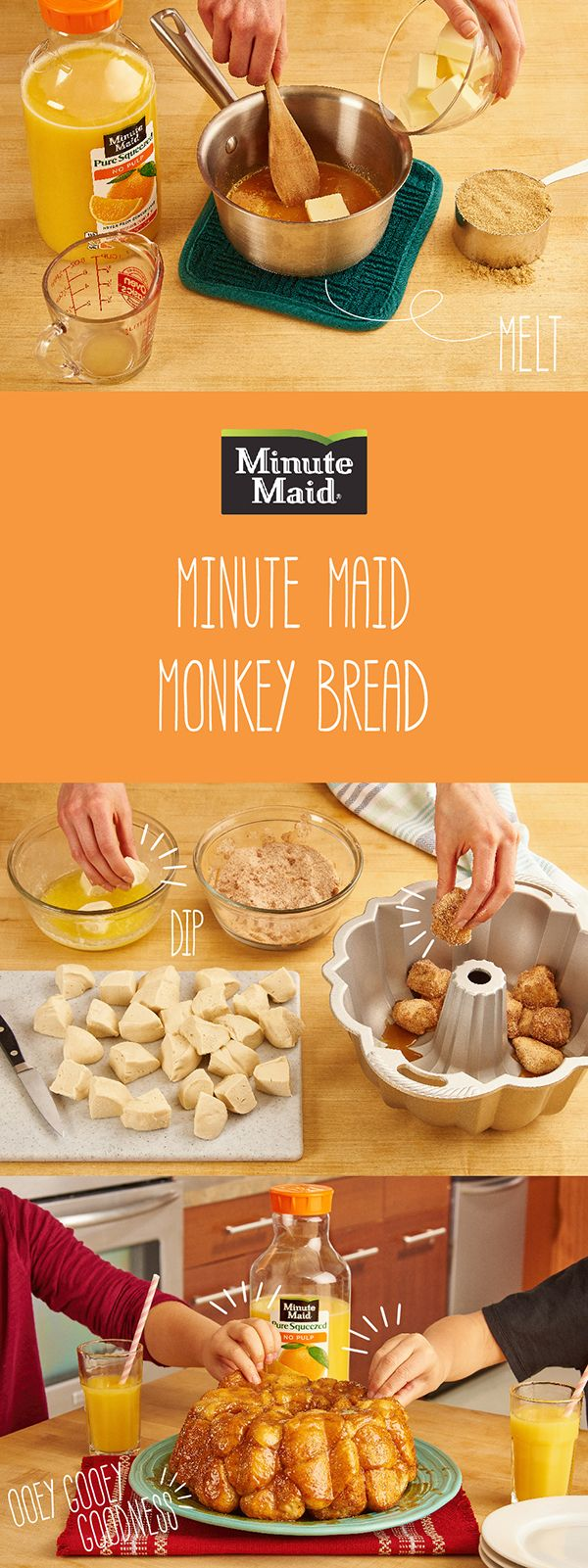 Easy, fun and oh-so delicious, treat your kids to a classic with this easy, Minute Maid Orange Juice glazed Monkey Bread recipe. The time spent together is time #doingood!