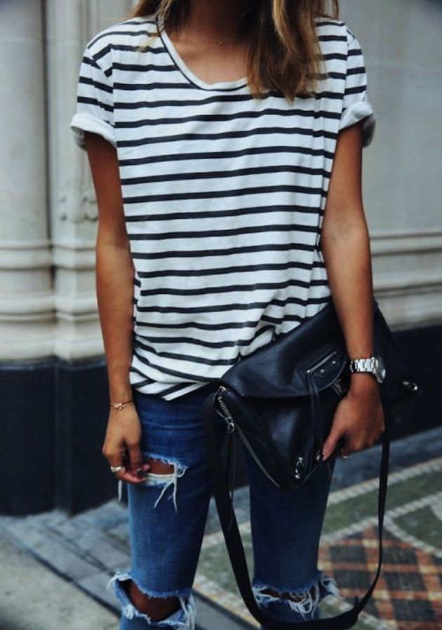 stripes and distressed denim // it never gets old