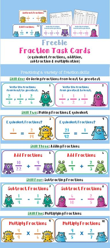 Free Fraction Task Cards, different questions to practice a variety of fraction skills including addition, subtraction, multiplication, equivalent fractions, and ordering. Roller English (www.rollerenglish.blogspot.com)