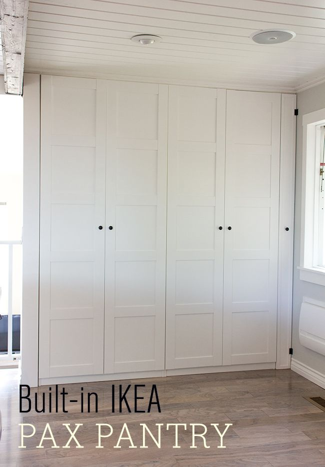 Ladies and gents, I present to you our finished Ikea Pax Pantry:Let's first back up to where we left off in my last post…The pantry was up, but with no hardware, crown molding, or insid…
