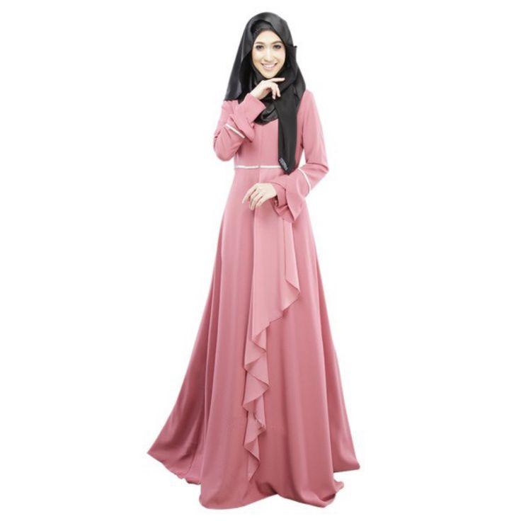 2017 New Long Sleeve Lotus Leaf Abaya Jilbab Muslim Kaftan Abaya