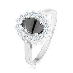 925 ezüst gyűrű, fekete ovális cirkónia, csillogó körvonallal, ródiumozott