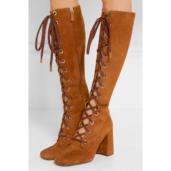 Prada Lace-up suede knee boots ($720) ❤ liked on Polyvore featuring shoes, boots, suede lace-up boots, tan suede boots, knee high heel boots, high heel boots and tan boots