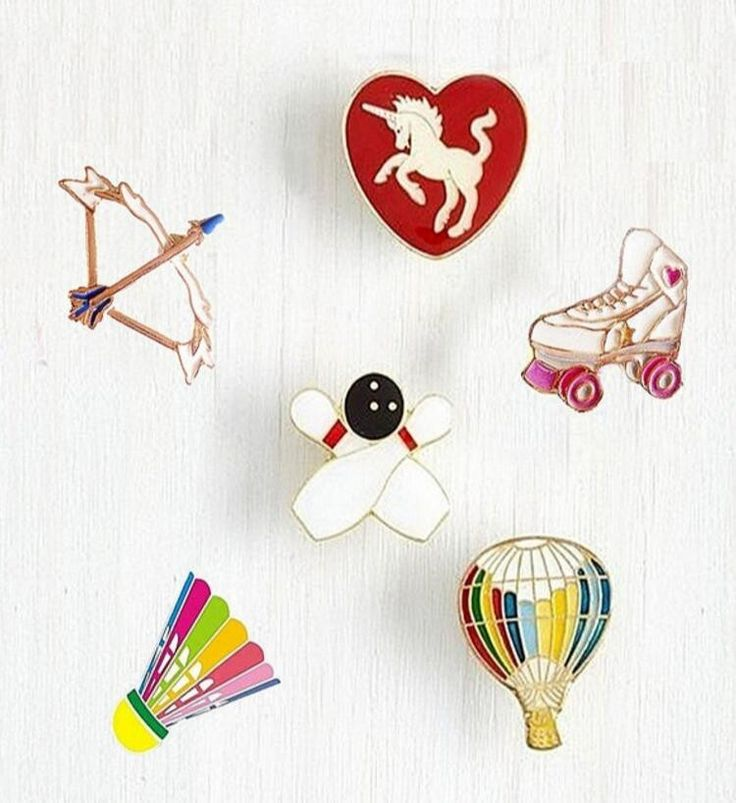 X114 Badminton Bow Roller Skating Shoes Unicorn Balloon Metal Brooch Pins Button Pins Jeans Bag Decoration Gift Wholesale