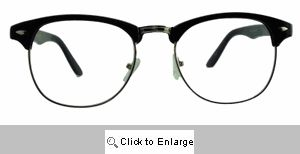Emery Vintage Clear Lens Clubmasters Glasses - 100CL Black