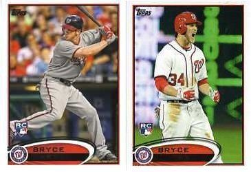 2012 Topps Baseball #661 BRYCE HARPER TWO(2) Card VARIATION ROOKIE SET MINT! . $29.99. Wowzzer!! Check out this Awesome MINT Set of TWO(2) Bryce Harper Variation Rookies!!   We are Proud to offer this Set of TWO(2) 2012 Topps Baseball Card #661 Bryce Harper VARIATION Set. You get BOTH Bryce Harper #661 Rookie Variation Cards - The First Bryce Harper Rookie Cards in his NATIONALS Uniform !!  The 2 Cards Pictured in MINT CONDITION!! One Card Features Harper Batting and the ...