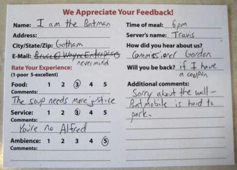 Best Comment Cards Images On   Diners Restaurant And
