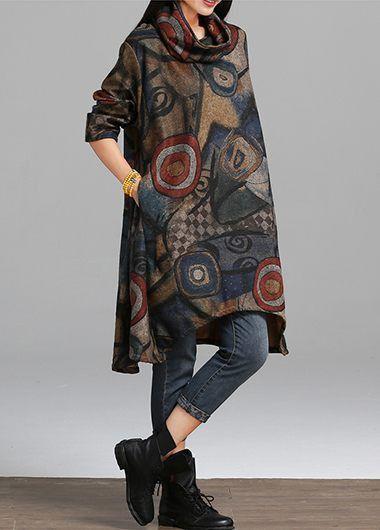 Long Sleeve Printed Asymmetric Hem Pocket Dress on sale only US$29.69 now, buy cheap Long Sleeve Printed Asymmetric Hem Pocket Dress at lulugal.com