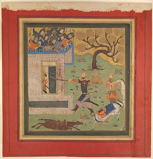 Shahnama .confrontation between the hero Bizhan and the brave half-brother of the Iranian king Kay Khusrau, after each protagonist had slain his opponent's horse. Sultanate features include the almost square format;  use of scale for dramatic effect (oversized figure of Bizhan; )disregard for architectural plausibility; preference for abstract patterns,(in the tree and in the rows of archers at the battlements ) and palette, especially the light green ground.