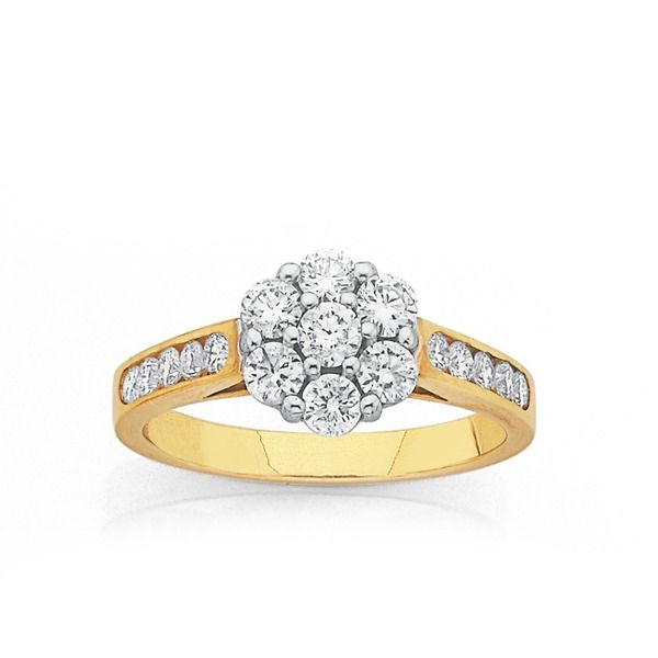 Get the big look with this gorgeous 9ct, Cluster Diamond Ring with a Total Diamond Weight of 1ct