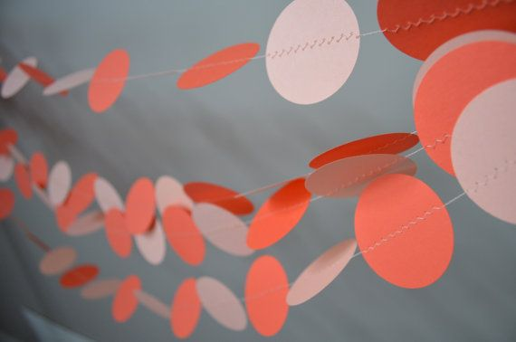 Paper garland. Coral orange and peach circle by MilestonesandPebbles, $11.98 https://www.etsy.com/shop/MilestonesandPebbles?ref=related-shop-35