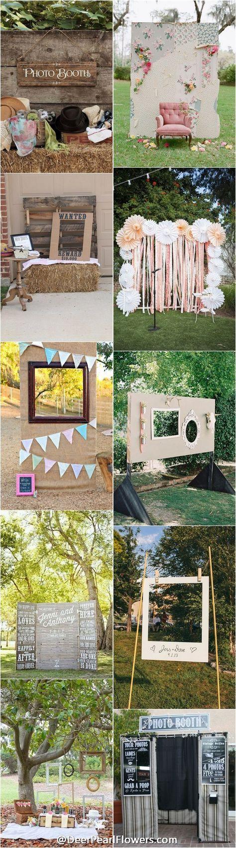 Wedding photo booth backdrop ideas - rustic country wedding ideas / http://www.deerpearlflowers.com/brilliant-wedding-photo-booth-ideas/