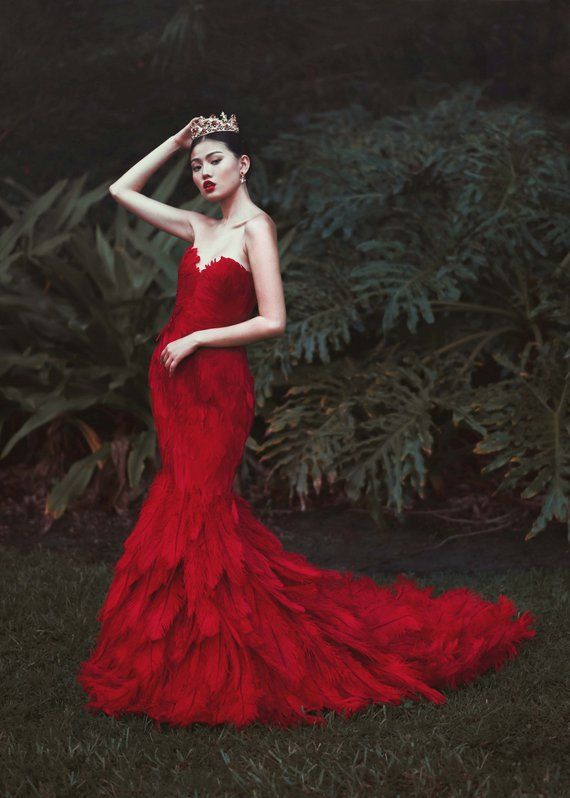 81b65baa1 Red Ostrich Feather Mermaid Couture Chinese Wedding Dress in 2019 ...