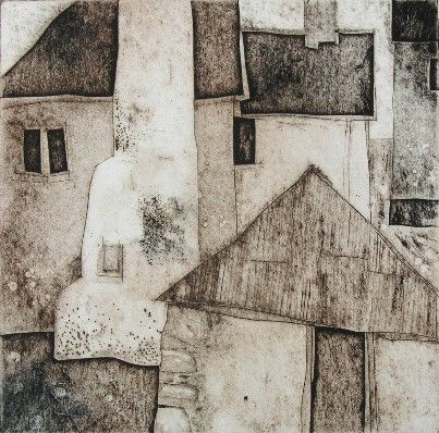 Mike Glanville Hallsands collagraph print 20 x 20cm