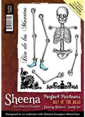 Sheena+Douglass+Perfect+Partners+Day+of+the+Dead+A6+Unmounted+Rubber+Stamp+-+Dancing+Skeleton