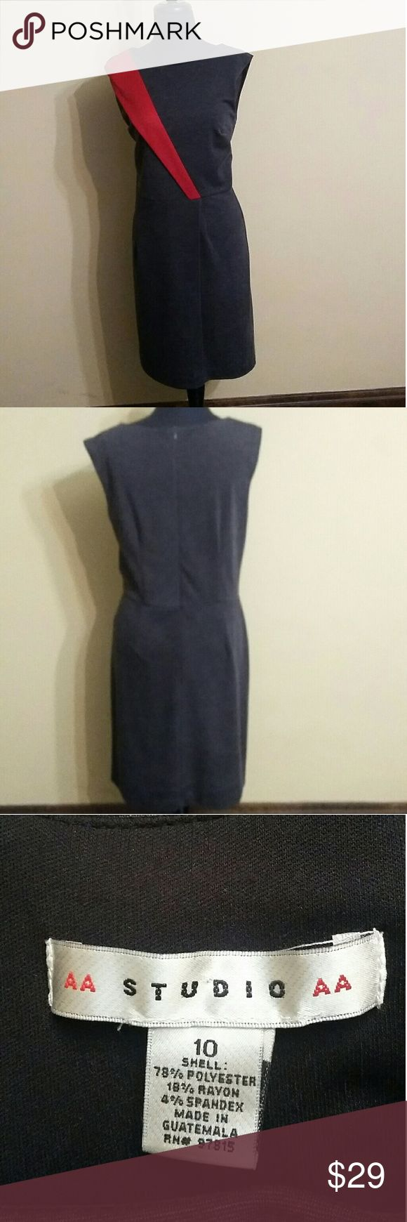 AA Studio Dress AA Studio  charcoal grey and red dress. It's in good condition and a nice dress for church or corporate America. Aa Studio Dresses Midi