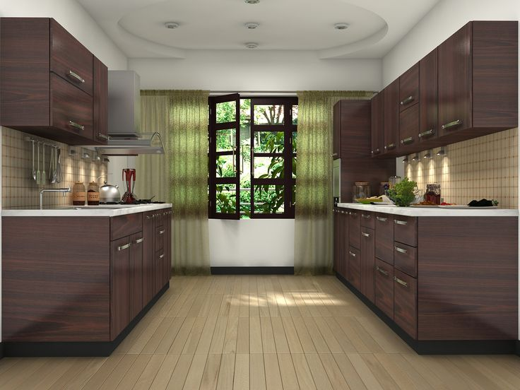 Brown Modular Kitchen Design Ideas Parallel Shaped Modular Kitchen Designs