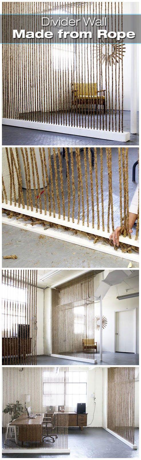 Diy room dividers - Creative Rope Divider Wall