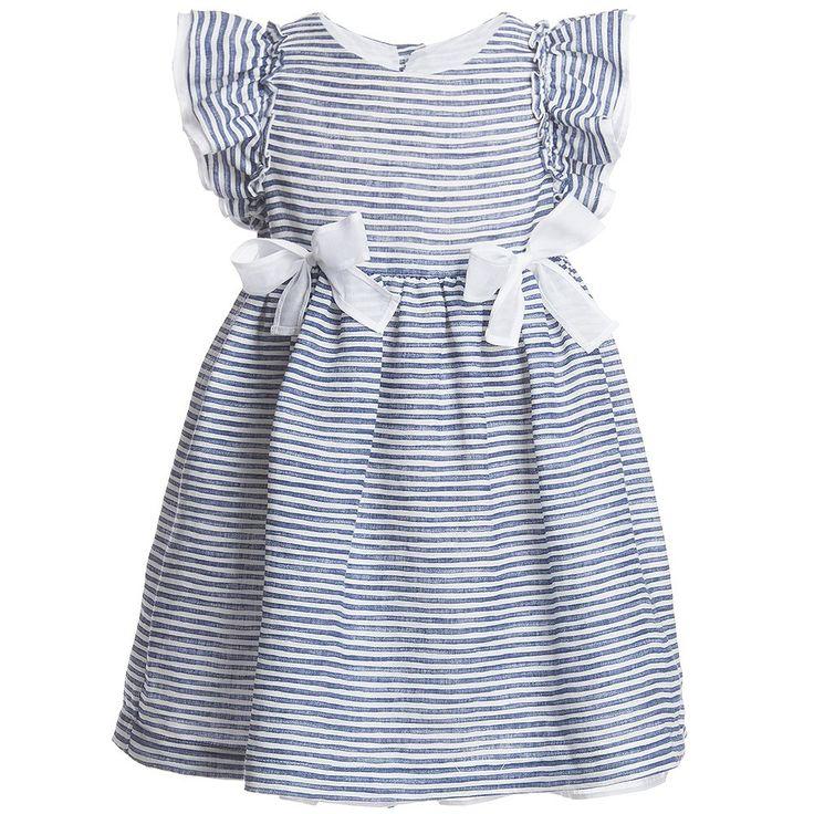 Il Gufo Girls Striped Dress with Organza Bows