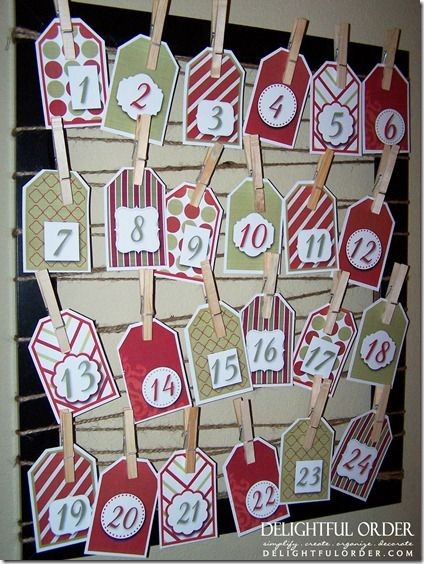 Easy to Make: Advent Christmas Countdown Calendar & Free Printables.    Wanted to do the sewn on advent calendar, but don't have the time. Printed these and will write fun things to do every day.
